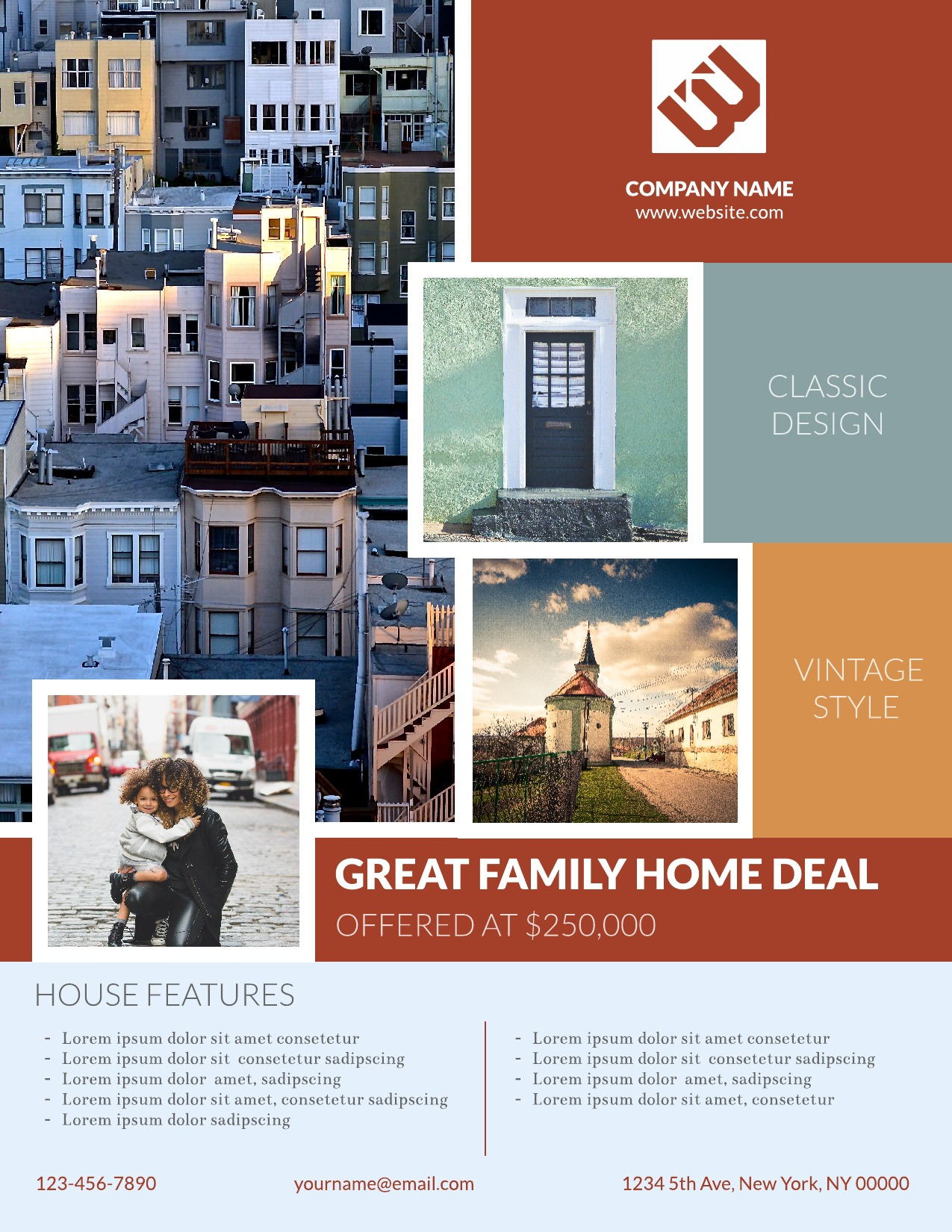 Real estate flyer template for Brochure maker template