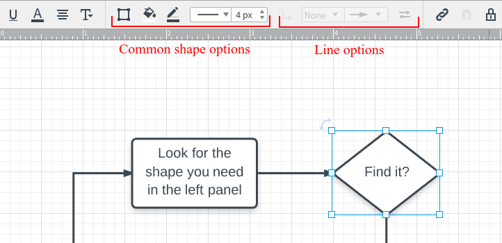 Fragment of the Lucidchart editor showing a toolbar with some button groups disabled
