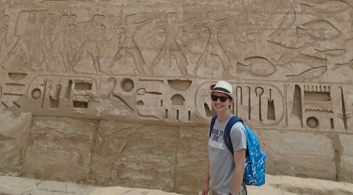 Me with some hieroglyphs, in Medinet Habu, Luxor, Egypt