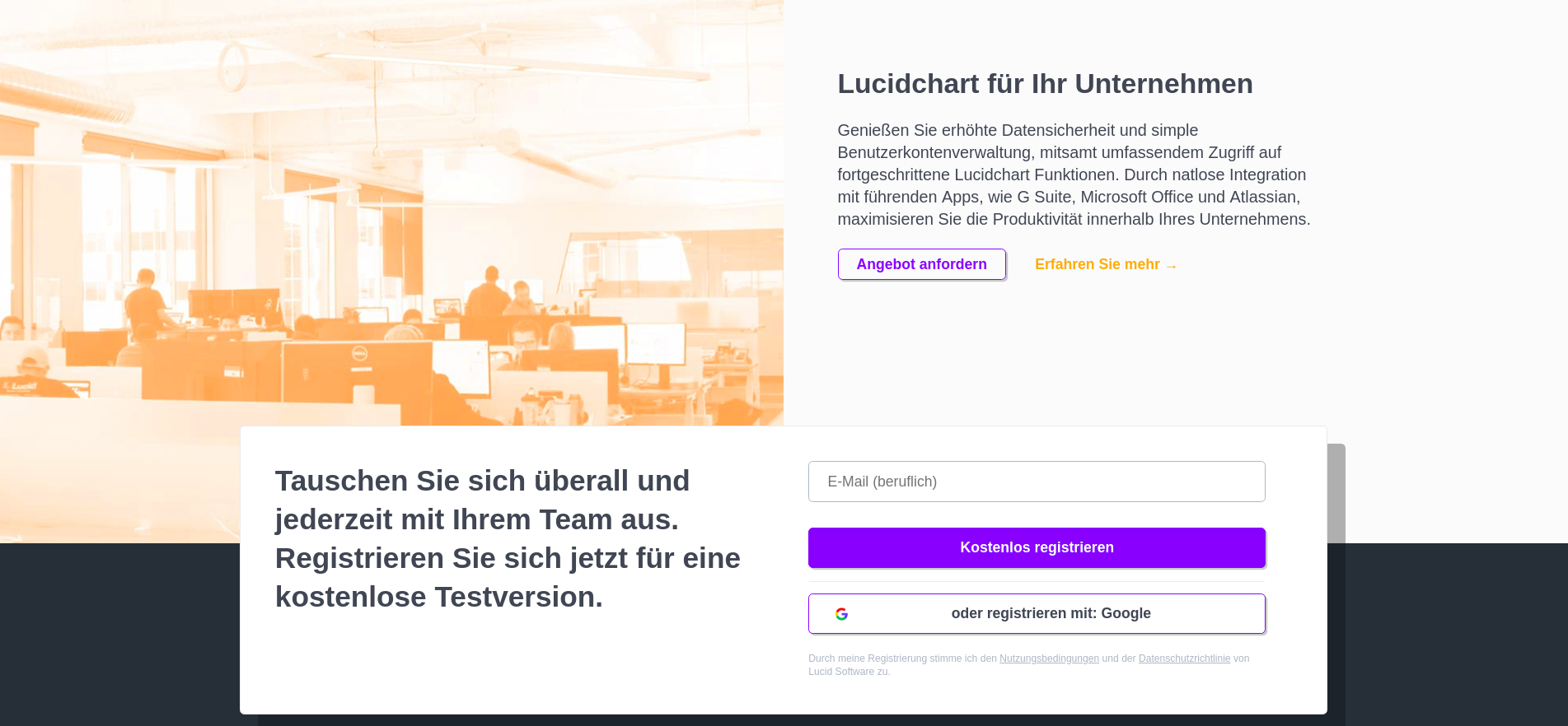 Part of the Lucidchart landing page in German