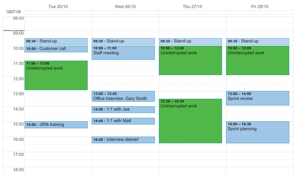 A screenshot of a week view in Google Calendar, showing slots of time allocated to uninterrupted work