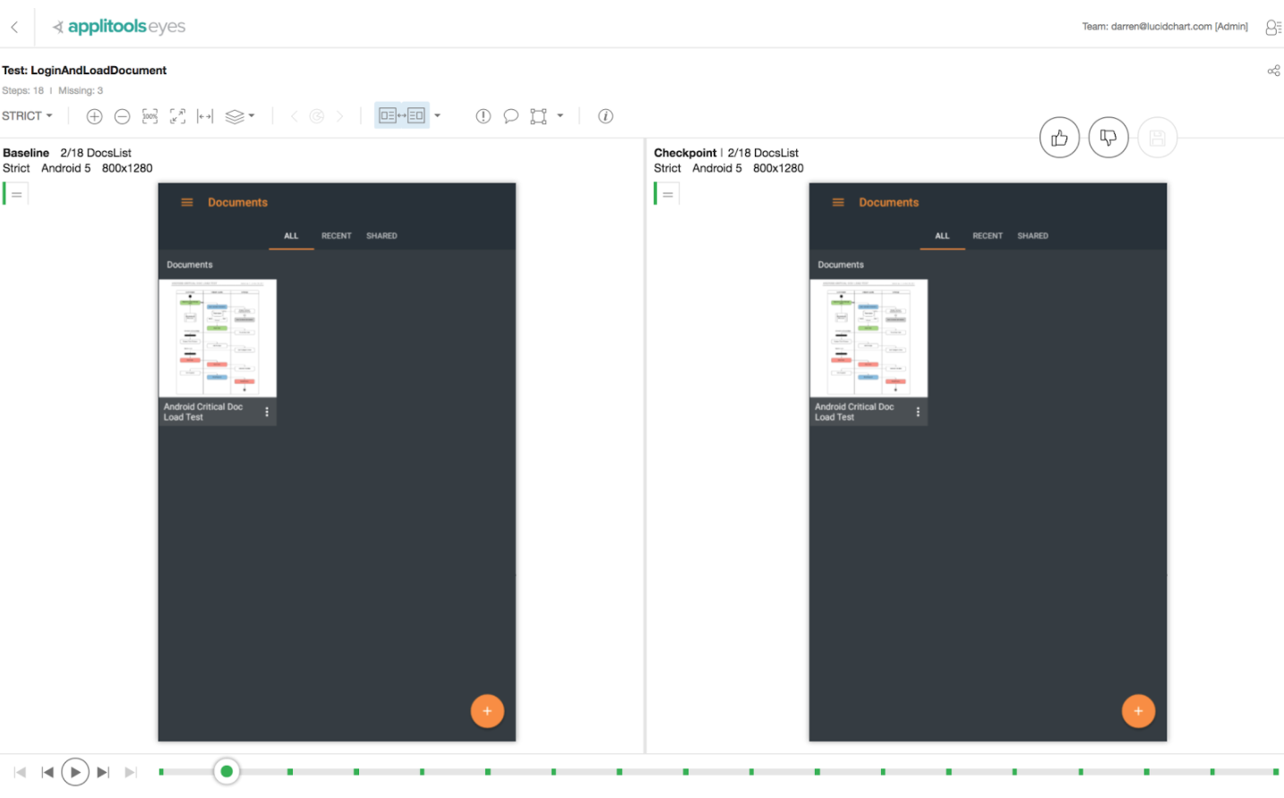 Applitools provides side by side visual comparison of UI snapshots during testing.
