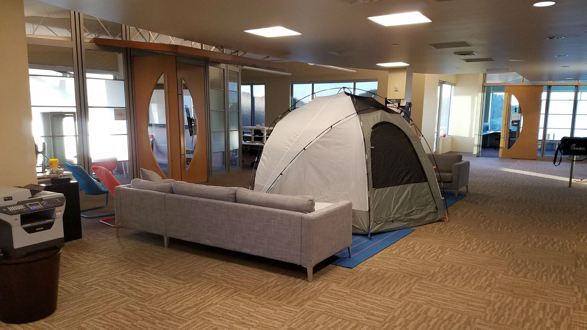 camping out in the office
