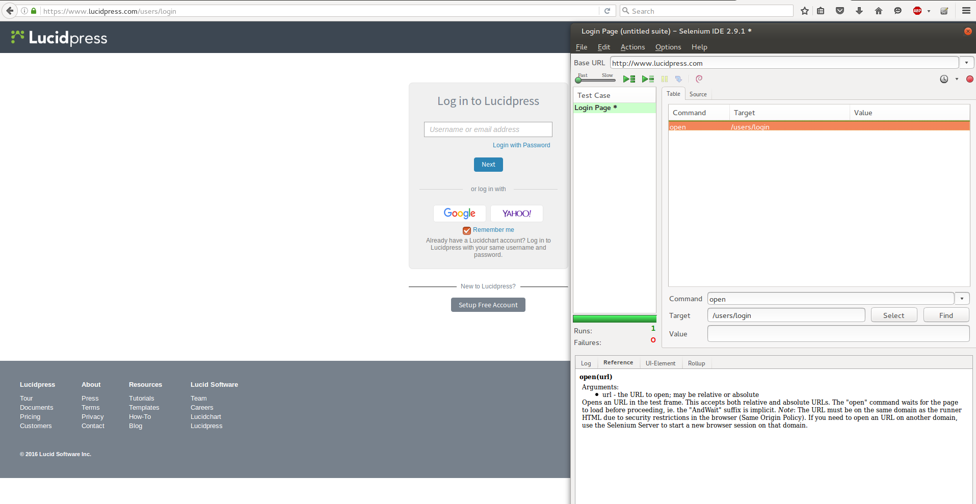 Screenshot of Selenium IDE add on