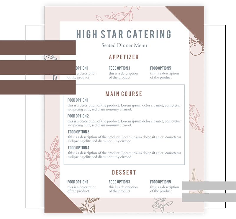 restaurant menu example
